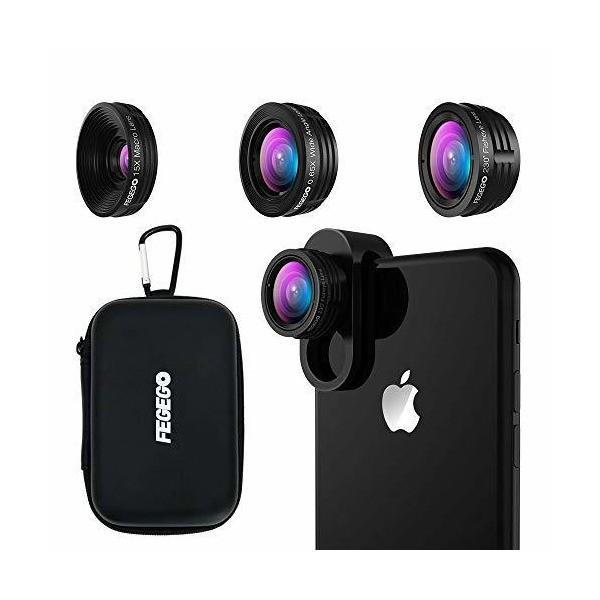 FEGEGO 4K HD スマホ用カメラレンズ 3in1(230°魚眼 、0.65倍広角レンズ 、15Xマクロ) 高画質 独特の合金クリップ iPh skygarden