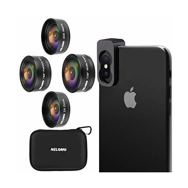 NELOMO スマホカメラ用4イン1レンズキット。適合機種:iphone XR X 8 7, Samsung Galzxy S9 S8, Huawe|skygarden