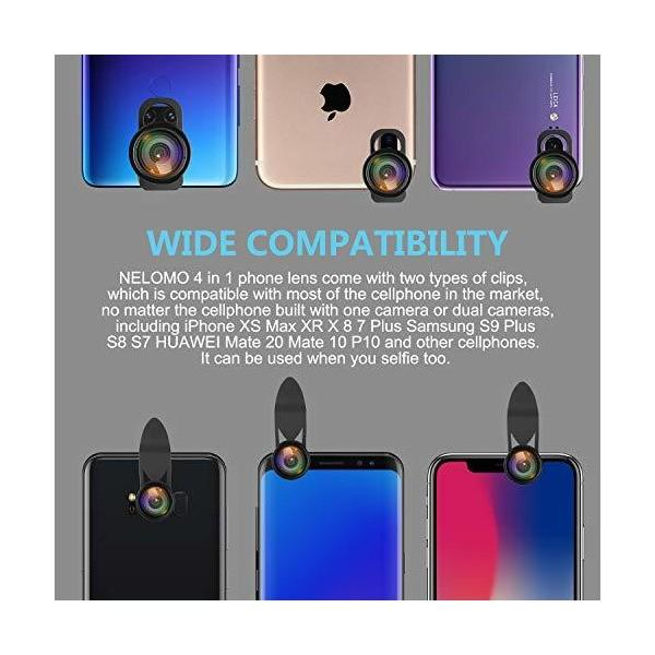 NELOMO スマホカメラ用4イン1レンズキット。適合機種:iphone XR X 8 7, Samsung Galzxy S9 S8, Huawe|skygarden|02