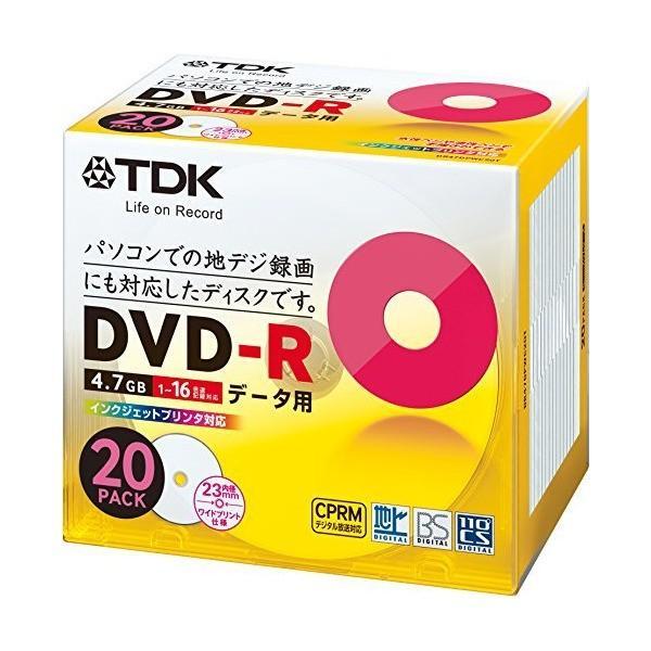 TDK データ用DVD-R CPRM対応 4.7GB 1-16倍速対応 ホワイトワイドプリンタブル 20枚パック 5mmスリムケース DR47DPW|skygarden