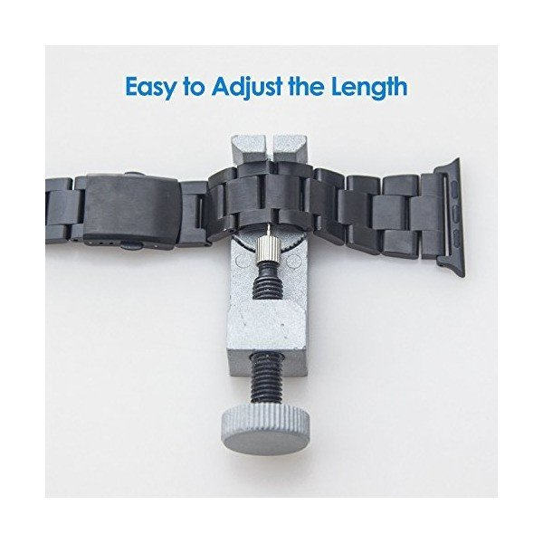 JEDirect Apple Watch 用バンド 38mm と 40mm Series 1 2 3 4対応 ステンレス留め金製 ブラック|skygarden|05