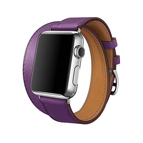 maping 高品質の二重バックル真皮スマートウォッチ置換バンド for Apple Watch Band Series 2 Series 1 [並