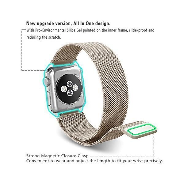 SUNKONG Apple Watch バンド ミラネーゼループ ステンレス留め金製 ケース付き アップルウォッチ バンド Sports Editi