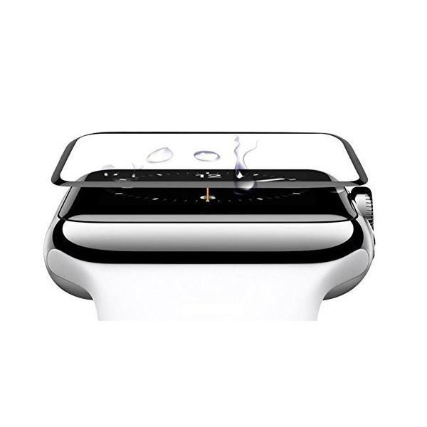 HOIBAI Apple Watch アップルウォッチ フィルム3D全面保護フィルム 強化ガラスフィルムHD高透過率 硬度9H 防水性 防指紋