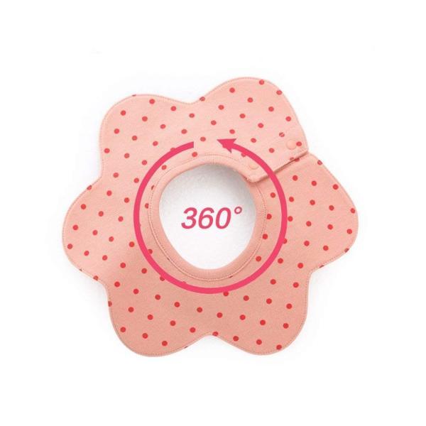 スタイ6枚セット ビブ 女の子 食事 エプロン 360°回転  綿 防水 4層厚さ クロス付け  360度スタイ 360° 360度よだれをキャッチ お出かけ|skyhy|08