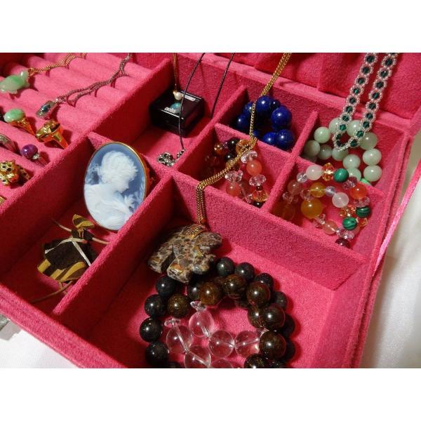 ベロア調 ジュエリーボックス  アクセサリーボックス 宝石箱 (ピンク) ジュエリーケース アクセサリーケース 収納ケース|skyhy|02