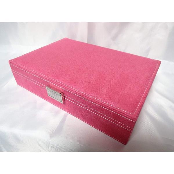 ベロア調 ジュエリーボックス  アクセサリーボックス 宝石箱 (ピンク) ジュエリーケース アクセサリーケース 収納ケース|skyhy|03