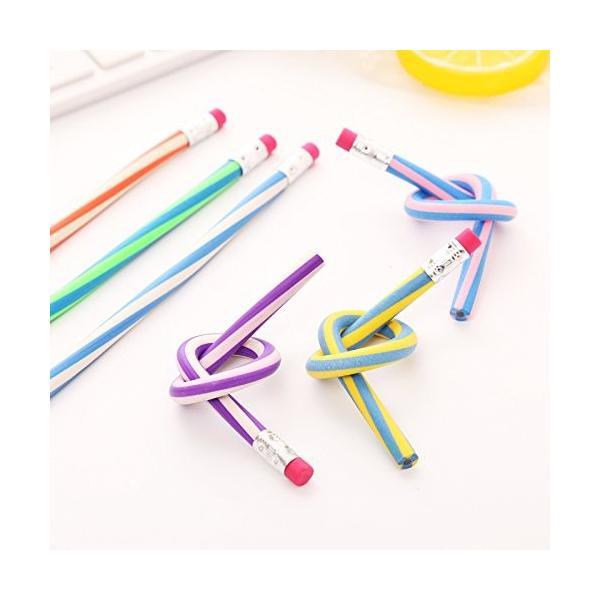 曲がる 鉛筆 20本セット 芯が折れない くねくね鉛筆 曲がる ストライプカラー えんぴつ おもしろ 芯が折れない やわらかい鉛筆 |skyhy|03