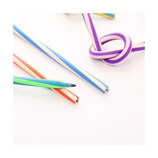 曲がる 鉛筆 20本セット 芯が折れない くねくね鉛筆 曲がる ストライプカラー えんぴつ おもしろ 芯が折れない やわらかい鉛筆 |skyhy|09
