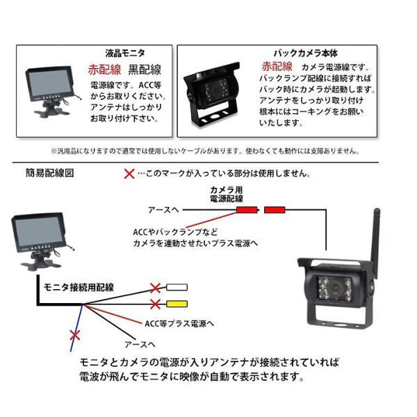 トラック・バス・重機対応 ワイヤレスバックカメラセット 12/24V 7インチ液晶モニター 無線タイプ ガイドライン有 OMT76SET|skynet|06
