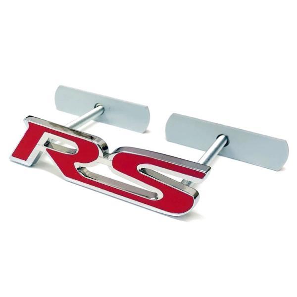 「RS」フロントグリル用メタルエンブレム 3D成型ロゴプレート 金属製ロゴ スタッドボルト式 取付簡単 立体メタルロゴ カスタム 愛車のドレスアップに CFLOGRS