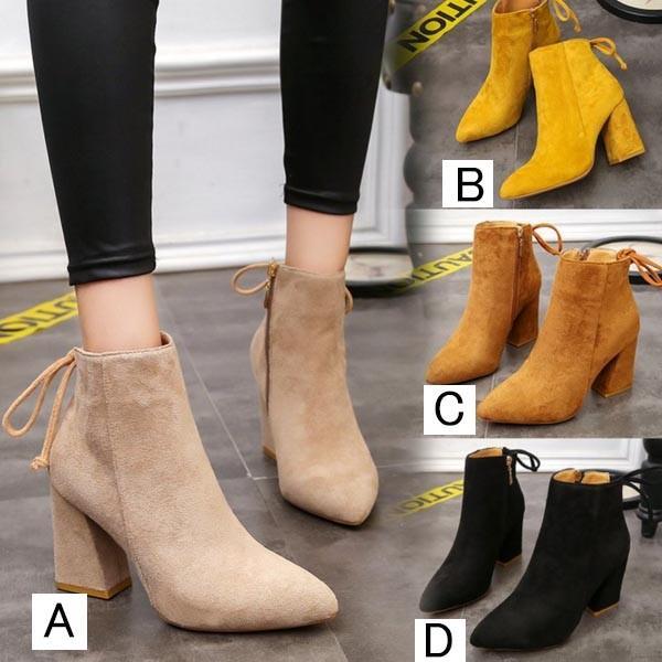 ショートブーツ レディース シューズ 靴 美脚 ハイヒール 痛くない ブーツ ぺたんこ 履きやすい 大きいサイズ 秋冬 おしゃれ