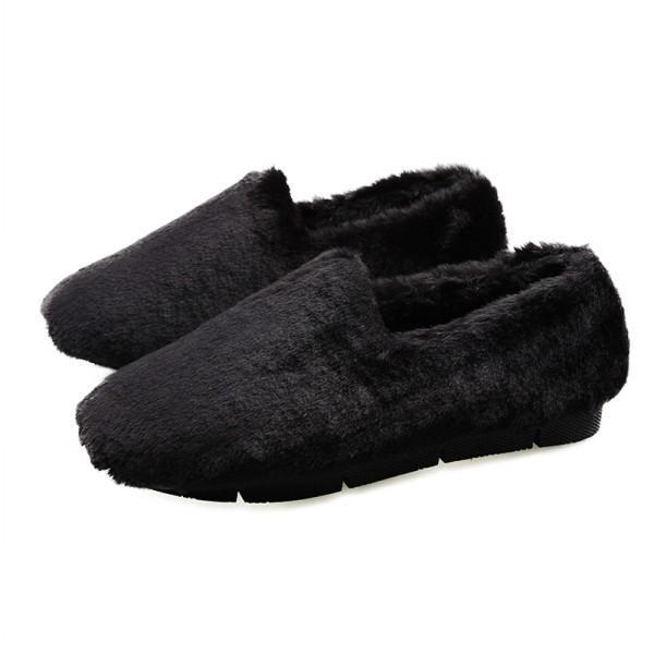 母の日 特価 ぺたんこ フラットシューズ 靴 大きいサイズ モカシン スリッポン ファー 内ボア ローファー ムートン ファーパンプス おしゃれ