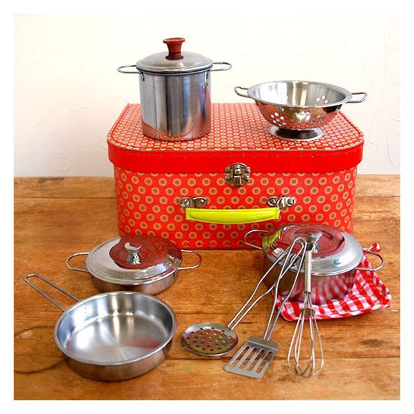 ままごと 鍋 調理器具 セット おもちゃ キッチン ベルギー Egmont toys エグモントトイズ ままごと メタルパンセット