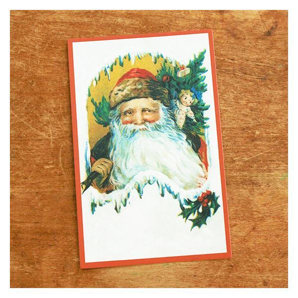 ドイツ製 ポストカード クリスマスカード クリスマス モミの木とサンタクロース メール便対象品