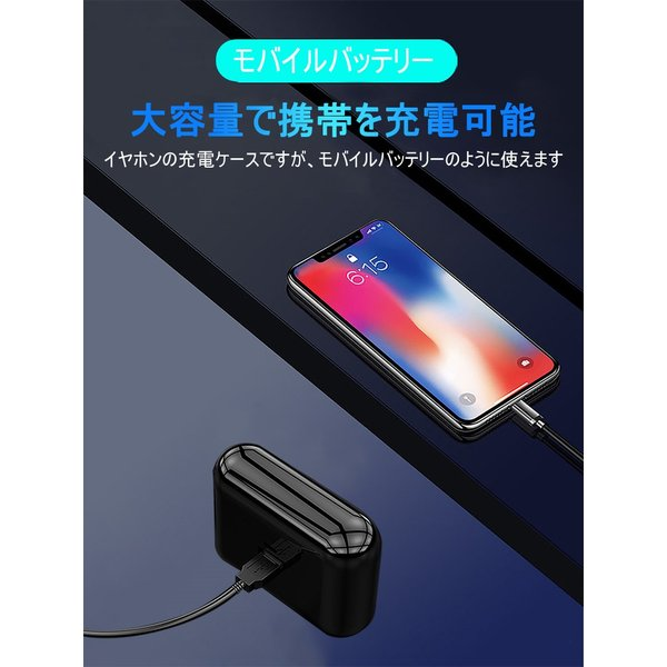 ワイヤレスイヤホン Bluetooth 5.0 ヘッドセット IPX防水 自動ペアリング 両耳 左右分離型 Hi-Fi高音質 指紋タッチ操作 2200mAh大容量 軽量 完全ワイヤレス|slub-shop|03