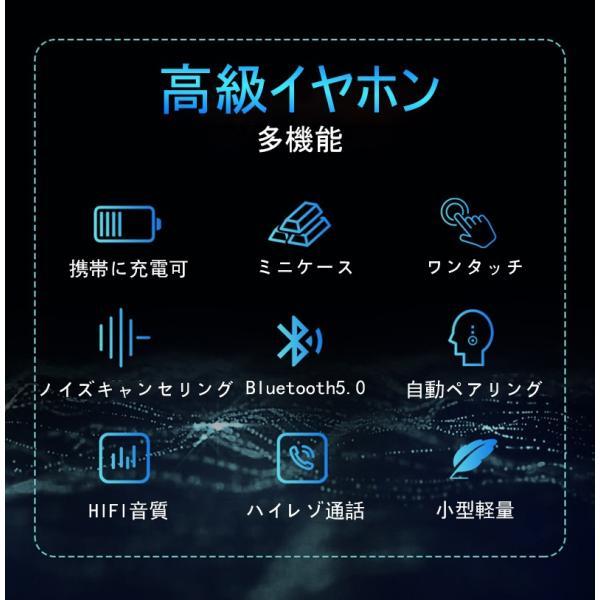 ワイヤレスイヤホン Bluetooth 5.0 ヘッドセット IPX防水 自動ペアリング 両耳 左右分離型 Hi-Fi高音質 指紋タッチ操作 2200mAh大容量 軽量 完全ワイヤレス|slub-shop|06
