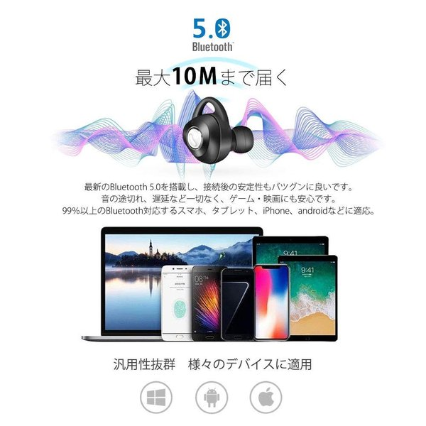 完全ワイヤレスイヤホン ブルートゥース Bluetooth 5.0 Line両耳通話対応 自動ペアリング 充電式収納ケース付き iPhone/ipad/Android適用 smagenshop 03