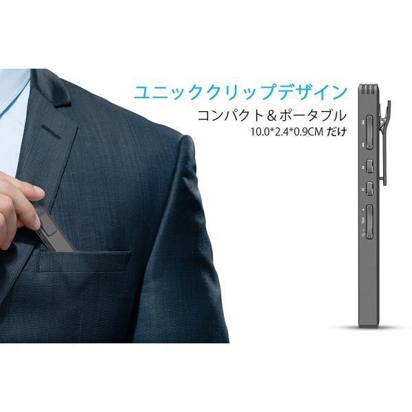 ボイスレコーダー ICレコーダー 録音機 8GB 内蔵スピーカー 長時間録音 高音質 軽量 操作簡単 超小型 クリップ付き 1年保証 日本語説明書付き smagenshop 03