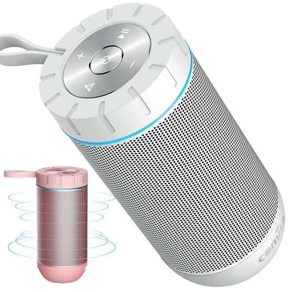 Bluetooth スピーカー ワイヤレススピーカー ホワイト/ローズレッド 高音質 36時間連続再生 完全ワイヤレスステレオ対応 IPX5防水規格 マイク内蔵|smagenshop
