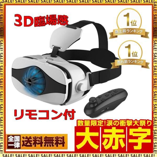 VRゴーグルiphoneアンドロイド対応ミニファンつけ超3D360度スマホヘッドセット4.0~6.0インチスマホ対応