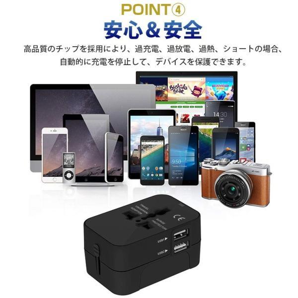 海外用 コンセント USB2ポート付き マルチ変換プラグ 旅行 変換アダプター iPhoneX iPad Pro タブレット 対応 100V-250V対応可 JP US UK EU AU対応 smahoservic 08