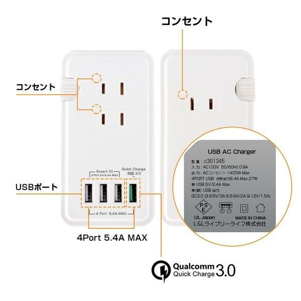 電源タップ USB コンセント 4ポート 複数充電 PSE認証済 コンセント USB 3個口 AC アダプター スマホ充電器 iPhone Type-C Android 全機種対応 一体式 個口 smahoservic 13
