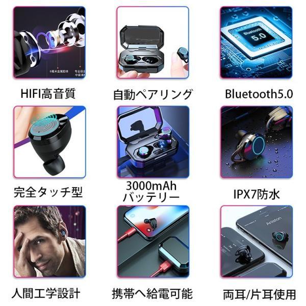 ワイヤレス イヤホン Bluetooth 5.0 ワイヤレス イヤホン ランニング イヤホン ブルートゥース iPhone 充電 モバイルバッテリー マグネット 無線|smahoservic|06