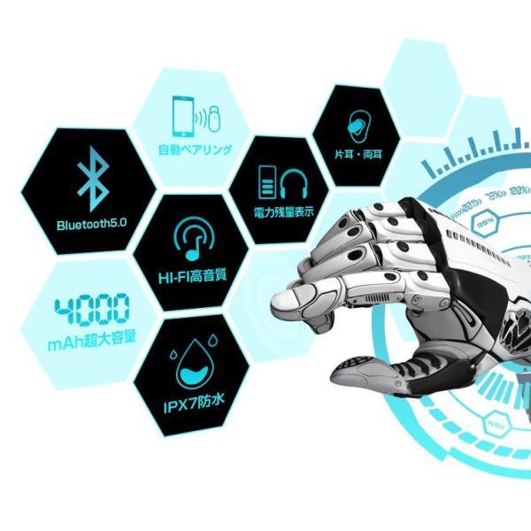 Bluetooth 5.0 ワイヤレスイヤホン Bluetooth イヤホン ブルートゥース イヤホン 残量表示 両耳 片耳 IPX7防水 Hi-Fi 高音質 自動ペアリング スポーツ 運動|smahoservic|05