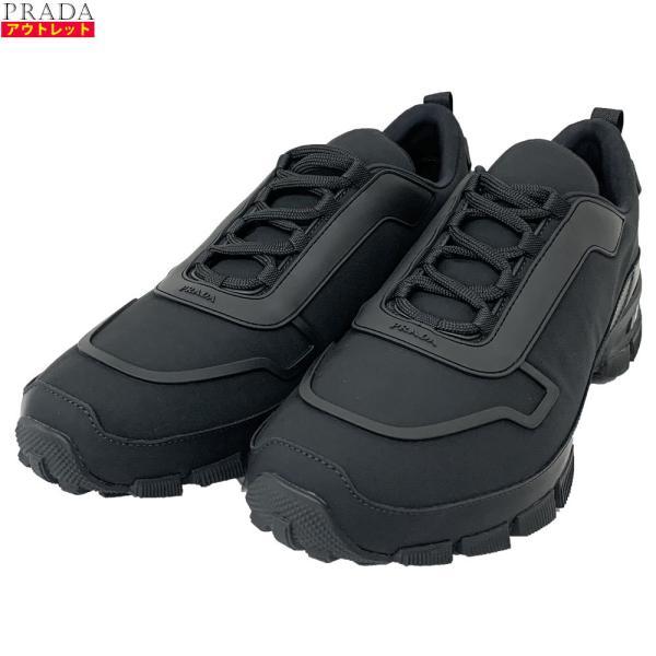 アウトレット PRADAプラダ4E34582OCAF0002ナイロンスニーカー黒ブラックサイズ9.528.5cm靴大きいサイズメ
