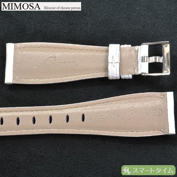 MIMOSA/ミモザ ガガミラノ マヌアーレタイプ 20mm ホワイト 型押し 革ベルト  替ベルト 【クリックポストで送料無料】