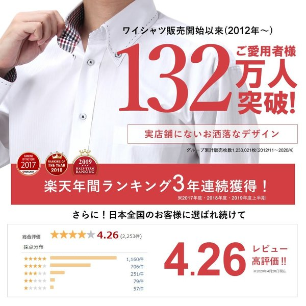 ワイシャツ 自由に選べるドレスシャツ5枚セット 長袖 メンズ Yシャツ 5枚で6480円1