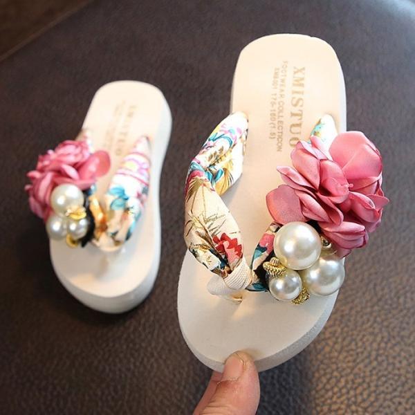 サンダルレディーススリッパ子供キッズ女の子サンダル女の子サンダル女児ビーチサンダル可愛い花ビーサンレディースシューズ靴