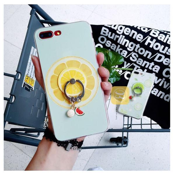 iphone8 iphone8plus iPhone7plus iphone7 スマホケース リング付き フルーツ柄 果物チャーム 携帯ストラップ イチゴ ライム グレープフルーツ スイカ 女子 smartec 04