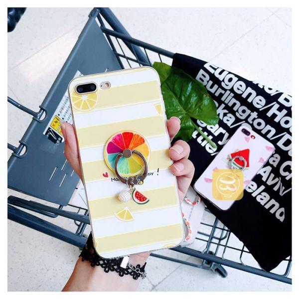 iPhone7ケース iphone7plus ソフトケース フルーツ柄 果物チャーム ストラップ リングホルダー イチゴ スイカ レモン ライム グレープフルーツ お得な4点セット|smartec