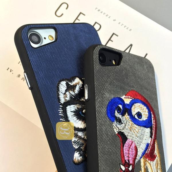 iphone8 iphone8plus iphone7 iPhone7PLUS iphone6s plus スマホケース ハード デニム 刺繍 布 犬好き ワンちゃん 猫 ハスキー パグ おしゃれ カバー レディース|smartec|02