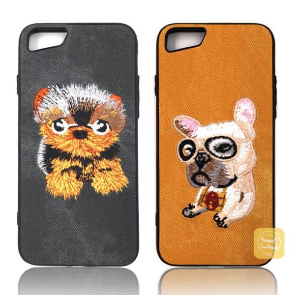 iphone8 iphone8plus iphone7 iPhone7PLUS iphone6s plus スマホケース ハード デニム 刺繍 布 犬好き ワンちゃん 猫 ハスキー パグ おしゃれ カバー レディース|smartec|03