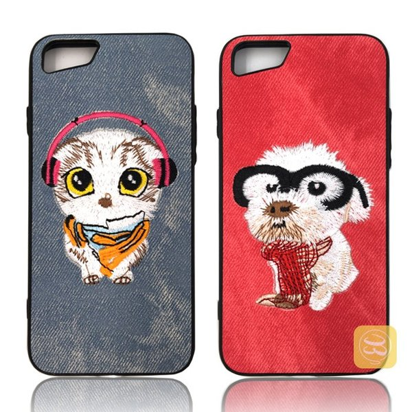 iphone8 iphone8plus iphone7 iPhone7PLUS iphone6s plus スマホケース ハード デニム 刺繍 布 犬好き ワンちゃん 猫 ハスキー パグ おしゃれ カバー レディース|smartec|04