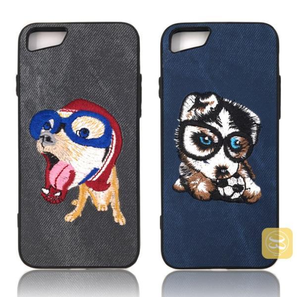 iphone8 iphone8plus iphone7 iPhone7PLUS iphone6s plus スマホケース ハード デニム 刺繍 布 犬好き ワンちゃん 猫 ハスキー パグ おしゃれ カバー レディース|smartec|05