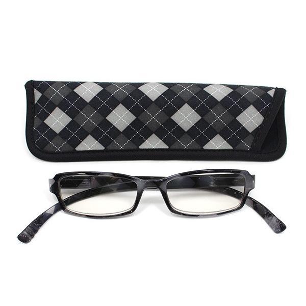 老眼鏡 シニアグラス おしゃれ 首かけ ネックリーダ- G082-M4 アーガイル