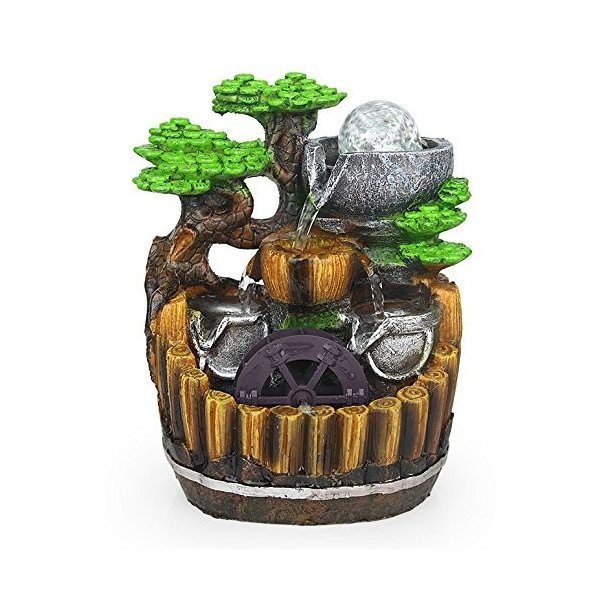 卓上 噴水 インテリア シミュレーション盆栽 樹脂の流水は輝く ミニ噴水 室内 含む LEDライト 水晶球 ポンプ110V|smile-box
