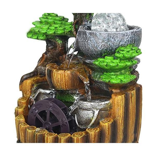 卓上 噴水 インテリア シミュレーション盆栽 樹脂の流水は輝く ミニ噴水 室内 含む LEDライト 水晶球 ポンプ110V|smile-box|03