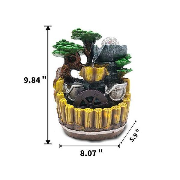 卓上 噴水 インテリア シミュレーション盆栽 樹脂の流水は輝く ミニ噴水 室内 含む LEDライト 水晶球 ポンプ110V|smile-box|05