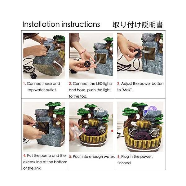 卓上 噴水 インテリア シミュレーション盆栽 樹脂の流水は輝く ミニ噴水 室内 含む LEDライト 水晶球 ポンプ110V|smile-box|07