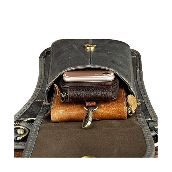 Genda 2Archer(JP) ウエストバッグ メンズ 本革 リベット ショルダーバッグ レザー 縦型 ベルトポーチ スマホ 革 レ|smile-box|03