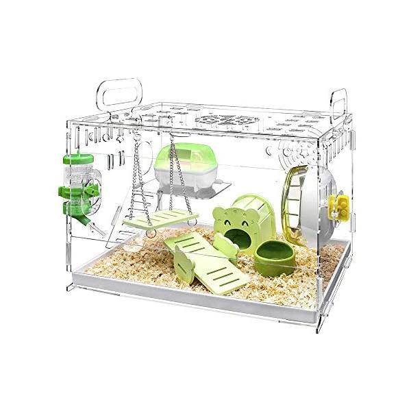 YOKITOMO ハムスターケージ 透明の二代目 ハムスターハウス トレーデザイン お掃除しやすい! 通気 2階デザイン 持ち運びやすい(緑セット) smile-box