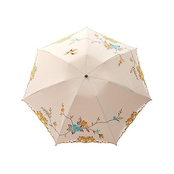 日傘 折りたたみ日傘 遮光 遮熱 2重張り 3段折りたたみ 刺繍 涼しい日傘 花鳥 優雅日傘 (ベージュ)