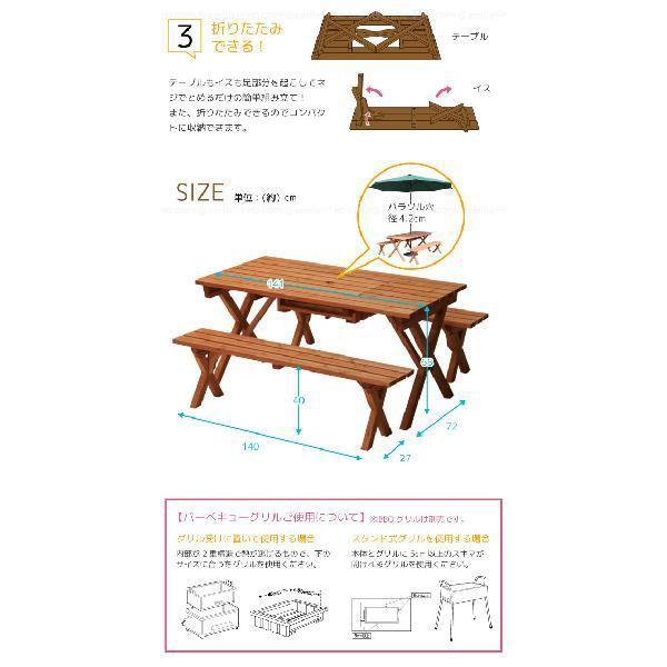 バーベキューテーブル3点セット 「BQT-140S」 「送料無料」 smile-hg 03