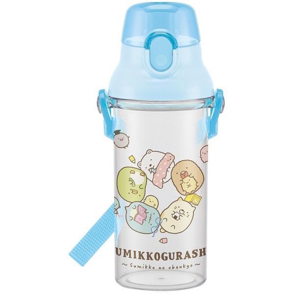 すみっコぐらし 子供用 水筒 / 食洗機対応 直飲み プラ製 ワンタッチクリアボトル 480ml すみっコおべんきょう|smile-hg