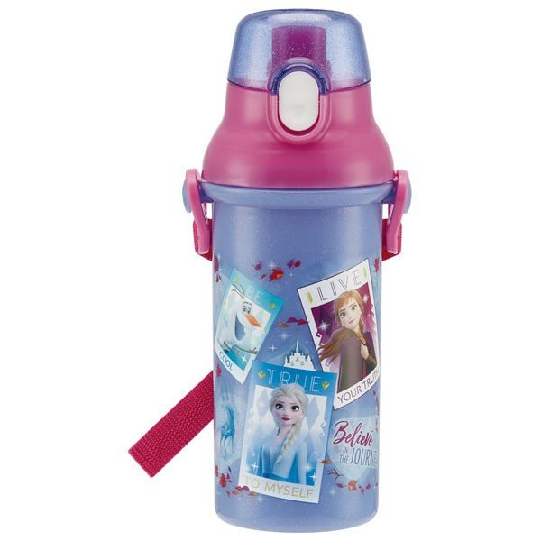食洗機対応 直飲み プラ ワンタッチボトル 480ml アナと雪の女王2 / ディズニー アナ雪 プッシュ式 直のみ ボトル 子供用 水筒 軽量 遠足 ショルダーベルト